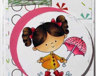 Hello Sunshine Rainy Day Umbrella Girl Puddle Splashing Handcolored Handmade Greeting Card
