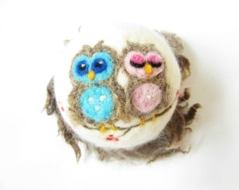 Needle Felted Owl Ornament,Felted bauble,Felt Christmas ornament,