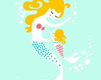 "5X7"" mermaid mother & baby girl giclee print on fine art paper. aqua, pink, blonde"