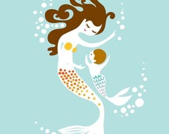 "8X10"" Mermaid Mother & Baby Boy giclee print on fine art paper. Sky blue, orange, yellow, brunette."