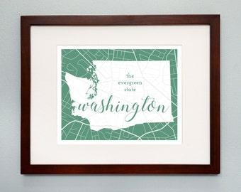 Washington State Map Print - 8x10 Wall Art - Washington State Nickname - Typography - Housewarming Gift