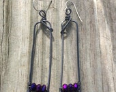 Feb Sale Dark Patina Copper Wire and Purple Crystals Earrings