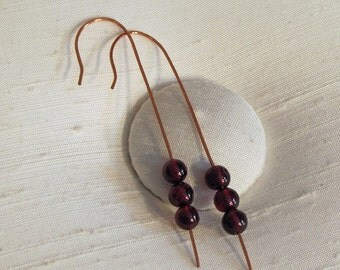 Earrings: Hand Forged Long Copper Shepherd's Hooks with Three Garnet Gemstone Beads