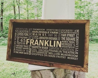 Franklin TN sign, Nashville Sign, Custom Subway art sign, personalize with your favorite places/destinations