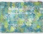 Laser Copy of Original Acrylic Artwork / Blue, Lime Green, Turquoise, Palm Design