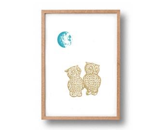 Screen Print -  'Moonlit Owls' Hand Pulled Screen Print