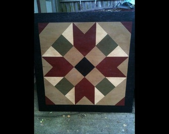 PriMiTiVe Hand-Painted Barn Quilt, 3' x 3'  Farmer's Daughter Pattern