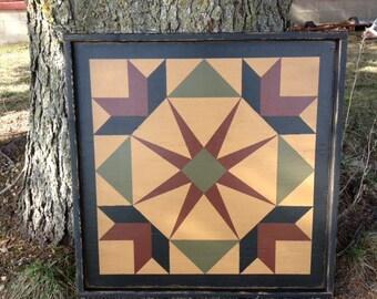 PriMiTiVe Hand-Painted Barn Quilt, 3' x 3'  Garden of Eden Pattern