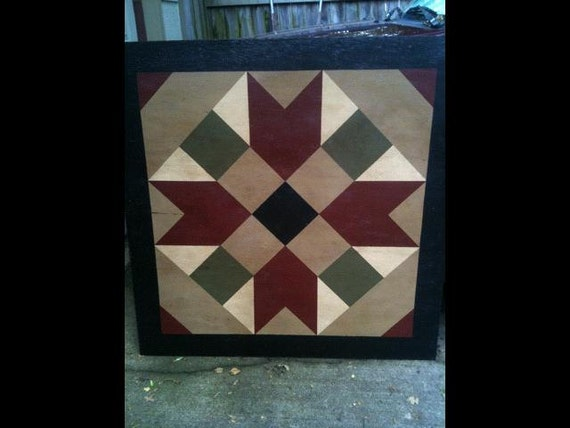 Primitive Hand Painted Barn Quilt 3 X 3