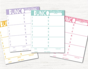 Instant Download Colorful Bunco Score Cards