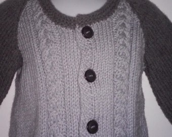 Hand knit Two-Toned Child Cardigan, unisex size 18 months 5 buttoned closure