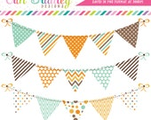 Bunting Clipart Digital Banner Flag Graphics Aqua Blue Orange Brown with Polka Dots Stripes Chevron Patterns Instant Download