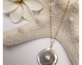 Round Mabe Pearl Necklace