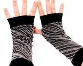 Arm Warmers in Hurricane Swirl - Grey Black Striped Fingerless Gloves - Recycled Upcycled