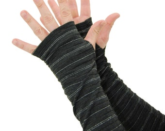 Arm Warmers in Charcoal Grey and Silver Tinsel - Fingerless Gloves - Sleeves