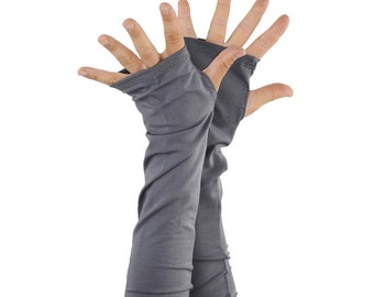 Arm Warmers in Silver Fox Grey - Bamboo - Extra Long - Eco Friendly