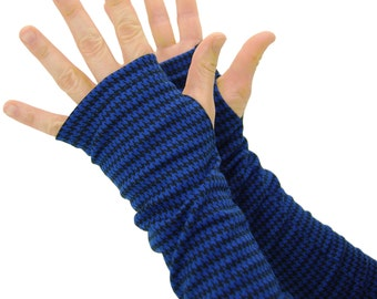 Arm Warmers in Cobalt Blue and Black - Fingerless Gloves - Sleeves