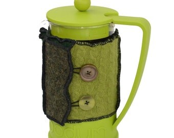 Bodum Cover in Upcycled Wool - French Press Coffee Cozy - Olive Forest Hunter Green