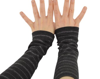 Arm Warmers in Charcoal Grey and Silver Tinsel - Long Cuffs - Fingerless Gloves - Sleeves