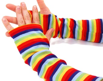 Arm Warmers in Super Bright Rainbow Stripes - Sleeves - Fingerless Gloves