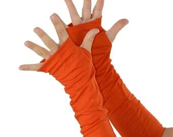 Arm Warmers in Mandarine Orange - Sleeves - Fingerless Gloves