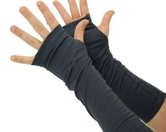 Arm Warmers in Slate Grey - Organic Cotton - Fingerless Gloves