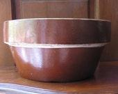 "Old Brown Primitive Pottery Bowl 10 1/2"""