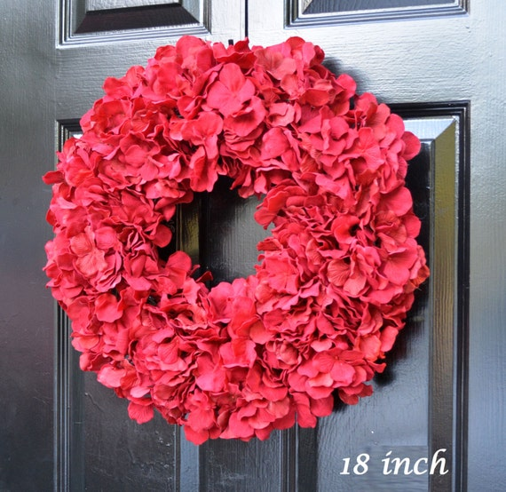 Custom Fall Wreath, Monogram Hydrangea Wreath, Fall Monogram Wreath, Red Hydrangea Wreath, Fall Decor Halloween Decor