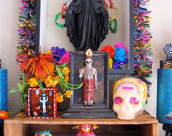 Day of the Dead VIRGIN MARY Black Saint Altar Photo - 5x7 Photograph of Day of the Dead Altar- 2013