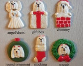 MALTESE dog, porcelain ornaments, created by Nicole, free personalizing, many styles from pull down menu
