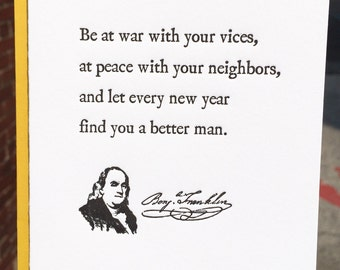 Letterpress Greeting Cards – Benjamin Franklin Quote / New Year / Holiday / Gift (Boxed Set of 6)
