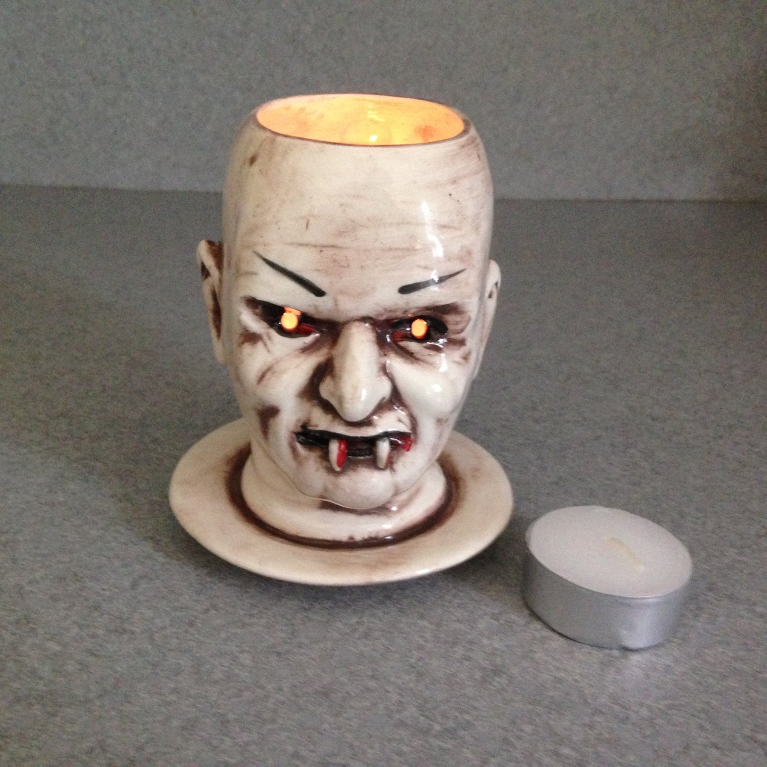 Vampire Doll Head Candle Holder Creepy Doll By Suesuesuecrafts