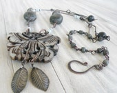 Stone Butterfly Necklace, Rustic Handmade Chain, Large Pendant, Dark Beads,