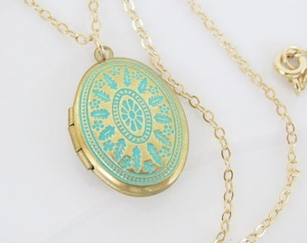 Turquoise and Gold Locket Necklace, Small Locket Necklace, Photo Locket, Turquoise Locket, Small Gold Locket Necklace, Keepsake Gift, Locket