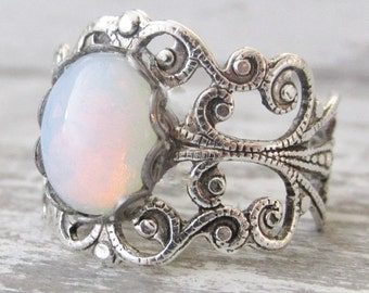 Silver Opal Ring, White Opal Ring, Birthstone Jewelry, Vintage Glass Pinfire Opal Rings, Bridesmaid Gift, Silver Filigree Ring, Opal Jewelry