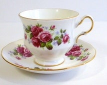 Vintage Queen Anne Bone China Tea Cup and Saucer, Pink Roses Gold Trim Cottage Chic Made in England Treasured Item
