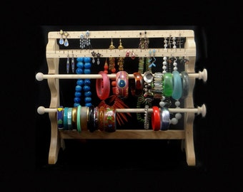 Standing Combo 2 Bracelet Wand 2 Earring Slat 2 Necklace Slat Jewelry Holder Storage Organizer Oak