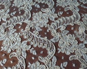 """Reserve for Risa New Old Stock~2.3 yds x 30""""~Vintage Alencon LACE~ROSES~Made in FRANCE~Feathery Design~"""