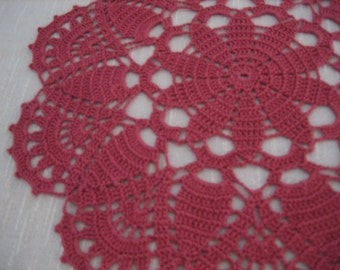 Crochet lace coral doily, home living, table decoration, cotton, made by Demet, New, Ready to ship!