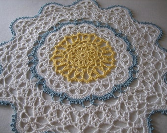 Crochet, white,blue, yellow, hand made doily, new, ready to mail