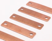 Copper Necklace Charm, 12 Raw Copper Stamping Blanks  (10x40x0.80mm)  D517