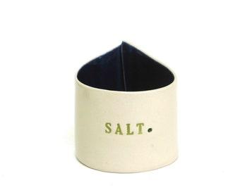 whimsical hand built  porcelain salt  cellar.   container.  vessel.   box.   pig.