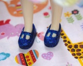 Middie Blythe Blue with Blue glitter T-strap Mary Jane doll shoes