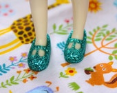 Middie Blythe Turquoise/ Teal glittery T-strap Mary Jane doll shoes