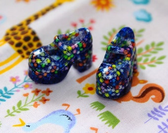 Blythe Blue Glitter & Cupcake Sprinkles Platform Mary Jane doll shoes