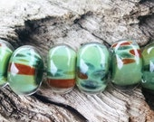 Handmade Lampwork Glass Beads Green Borosilicate