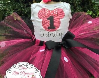 Zebra Minnie Mouse Inspired Birthday Tutu Outfit - 1st Birthday Minnie Tutu - Minnie Mouse Dress -Baby Minnie Mouse 1st Birthday Tutu Outfit