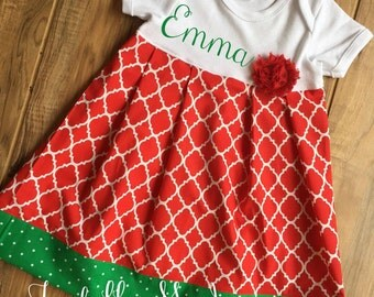 Boutique Personalized Red and Green Dress
