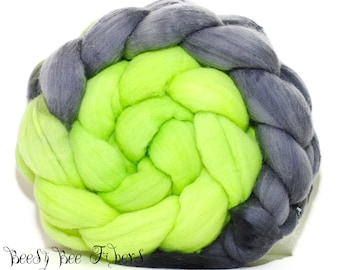 BLACK LIME - Domestic Merino Hand-Dyed Hand Painted Combed Top Wool Roving Spinning Felting fiber - 4 oz