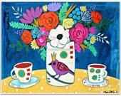 Afternoon Tea - Bird vase, flowers and tea cups - Art Print - Art by Regina Lord